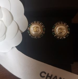 Vintage Chanel button earrings